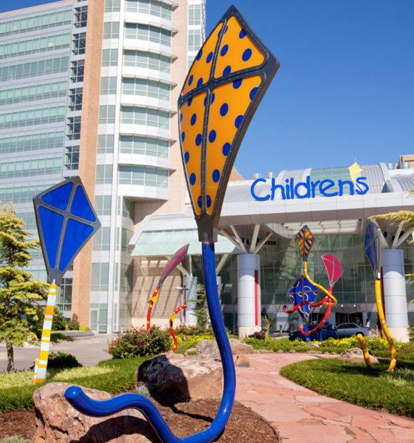 Display kites at the entrance of the Children's Hospital at the University of Oklahoma Medical Center in Oklahoma City, Oklahoma.