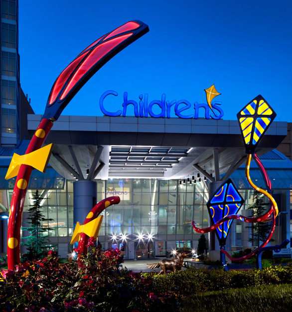 Evening view of kite sculptures outside the entrance of the Children's Hospital at the University of Oklahoma Medical Center in Oklahomas City, Oklahoma.