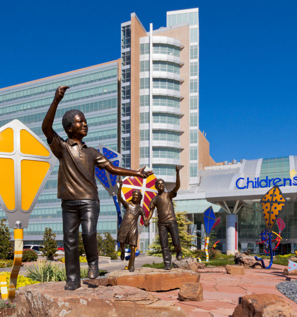 Wide angle view of the sculptures at the Children's Hospital at the University of Oklahoma Medical Center in Oklahoma City, Oklahoma.