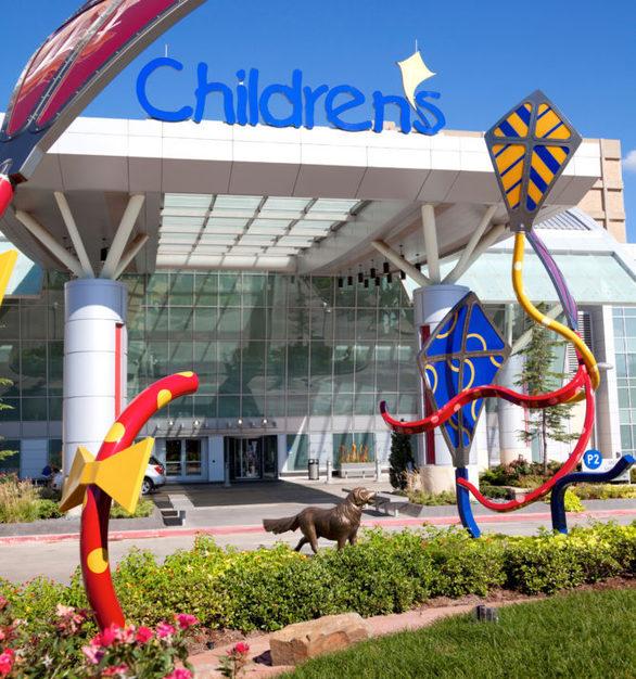 Exterior kite display at the Children's Hospital at the University of Oklahoma Medical Center in Oklahoma City, Oklahoma.