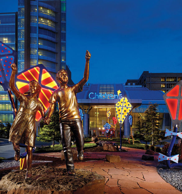 """""""Spirit"""" sculptures at night a the Children's Hospital at the University of Oklahoma Medical Center in Oklahoma City, Oklahoma."""