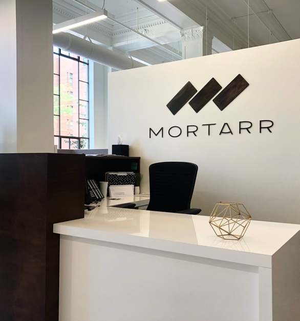 The Foundry LLC worked with the owners of Mortarr to bring their vision to life. Creating and installing a logo piece finished with a dark bronze wash, this was the perfect finishing touch to their beautiful new headquarters.