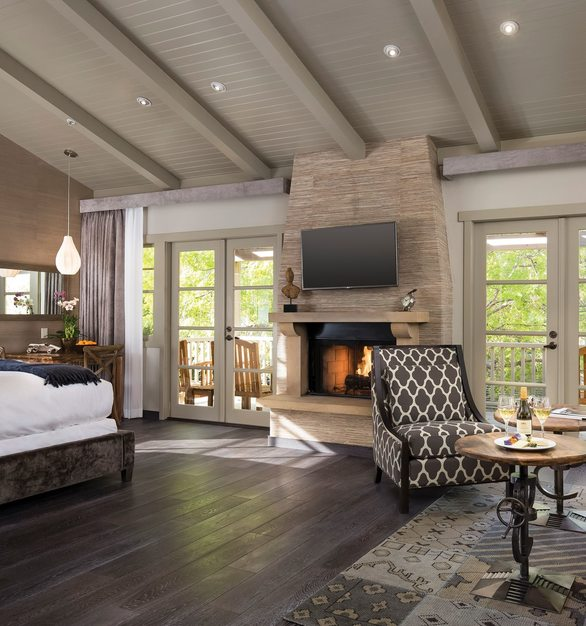 Gorgeous interior within the rooms of the Bernardus Lodge and spa in beautiful Carmel, CA. Shown here is the French Connection Collection by The Garrison Collection.