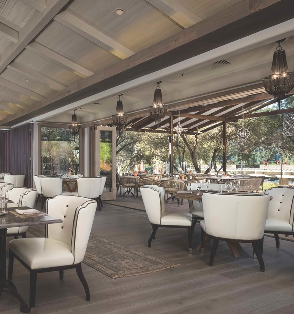 The restaurant at the Bernardus Lodge and Spa in Carmel Valley, California showcase The Garrison Collection hardwood floors beautifully. It also is a testament to the durability of the flooring as well.