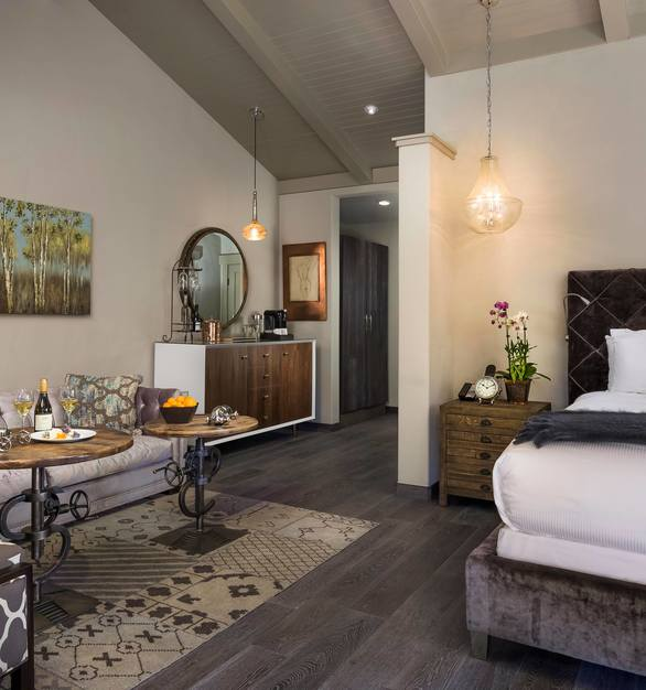 The Garrison Collection can be found throughout the Bernardus Lodge and Spa, with one space, in particular, being the guest rooms. The hardwood floors are throughout and all Garrison Collection. Seen here at the Bernardus Lodge and Spa in Carmel Valley, California.