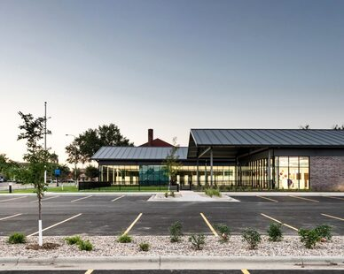 The easily accessible parking spaces at The K.O. Lee Aberdeen Public Library in Aberdeen, South Dakota, by CO-OP Architecture.