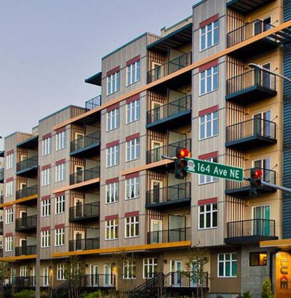 Prefabricated Balconies and Canopies by Endurable Building Products on the modern Luke Apartments in Redmond, WA