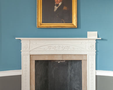 Treaty Room -- Above the fireplace is a portrait of John Tayloe IV, the first born of John III and Ann.  He was a midshipman on the USS Constitution, nicknamed Old Ironsides, and was wounded in its historic battle with the British frigate Guerriere during the War of 1812. John IV died in 1824 of his wounds at Mount Airy, the Tayloe's Virginia plantation.
