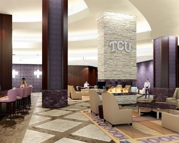 Stunning lounge at Texas Christian University showcasing the custom stonework provided by Thorntree Slate.
