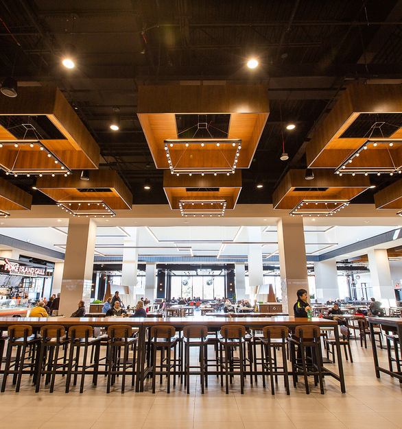 Tivoli Lighting used the Litesphere - AC Series energy-efficient, love voltage strand lighting for the food court of the Staten Island Mall.