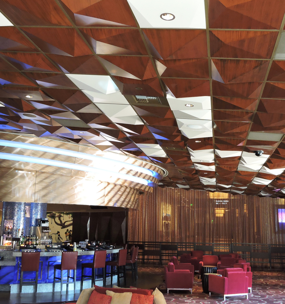 Complete with wood grain Faux Finishes, Above View's Pyramid ceiling tiles bring warmth and sophistication to the Harrahs Casino and Resort's lounge and hallways.