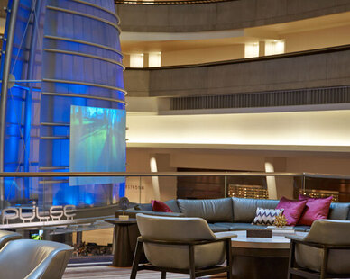 Today, the Atlanta Marriott Marquis is looking better than ever after a dramatic transformation that introduces stylish new amenities and innovative features at every turn.  Townsend Leather was used on the Lobby Banquette.