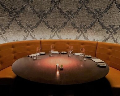 Townsend Leather's Duvel Rustica Cowhide Bavarian Mustard was used in the Jean Georges Steakhouse at ARIA Resort & Casino.