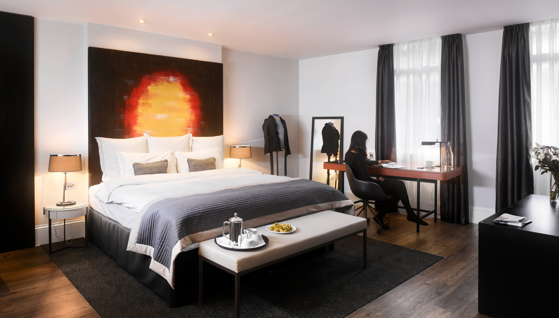 Townsend Leather's Abstract Art Lunar was used on the headboard of the Executive King Guest Room in Threadneedles Hotel, London.