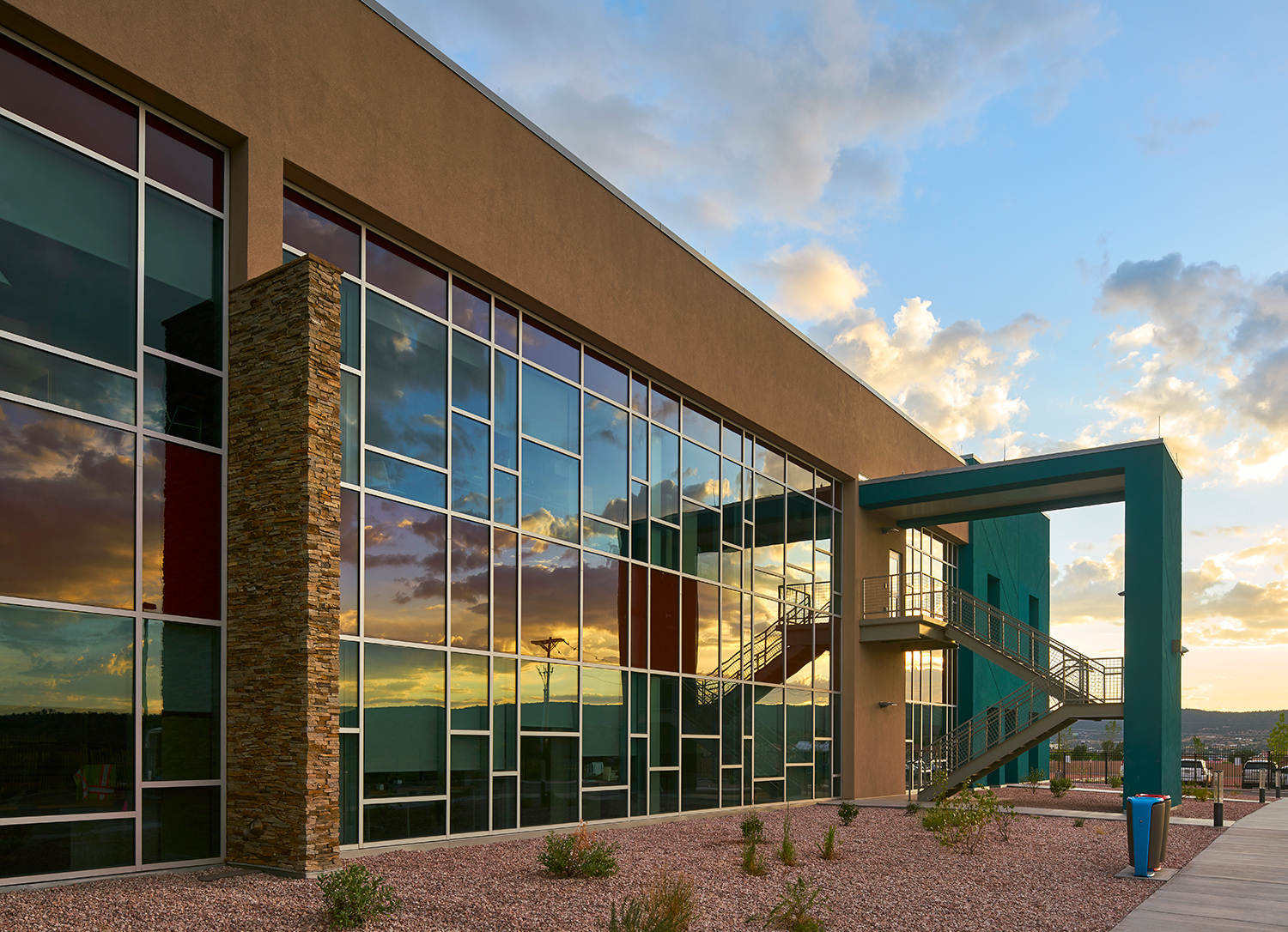 Exterior view of the Navajo Tribal Utility Authority Headquarters in Fort Defiance, Arizona.