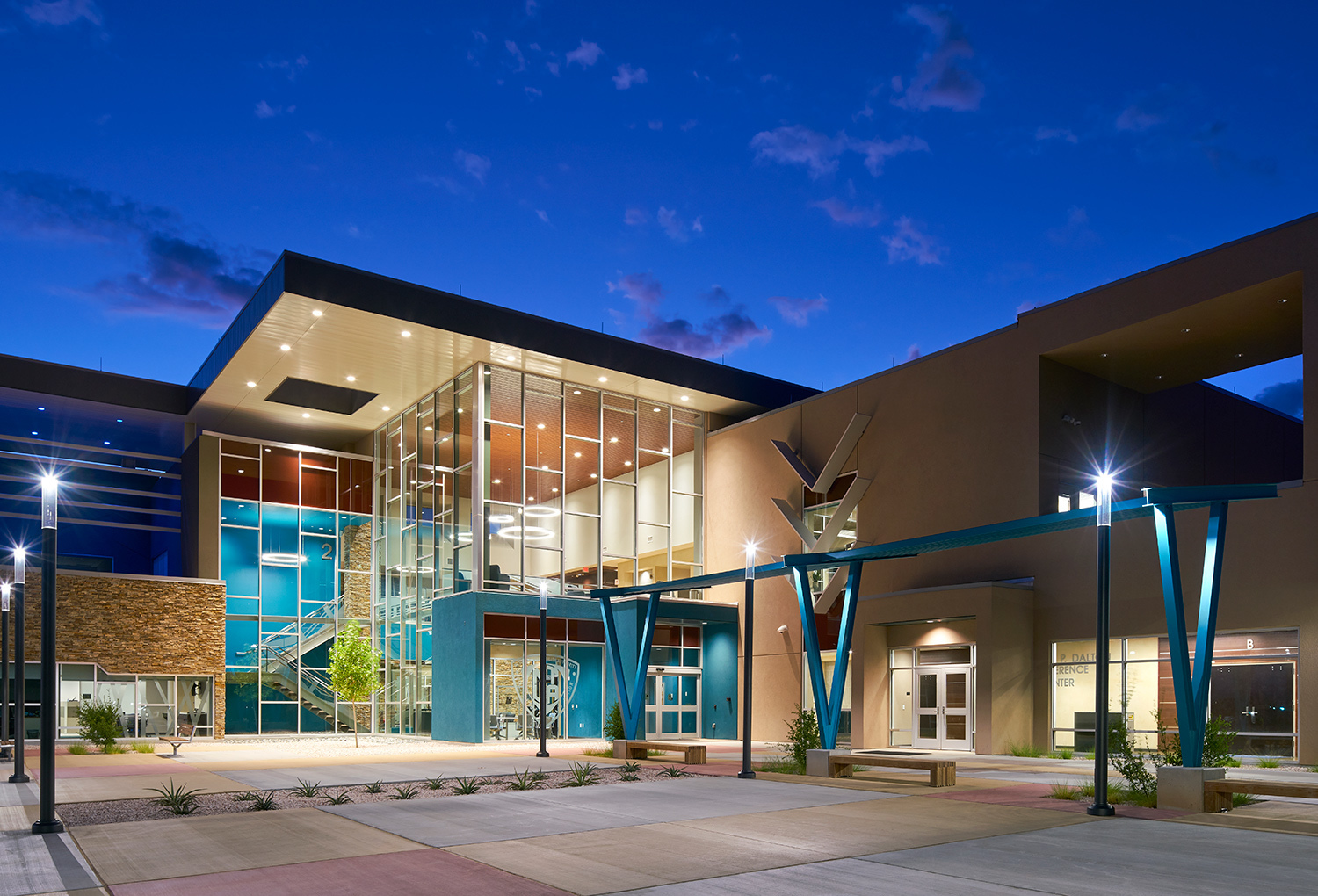 The Navajo Tribal Utility Authority Headquarters in Fort Defiance, Arizona, features a stunning curtain wall design that allows light to fill the interior of the space.