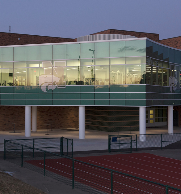 This curtainwall in Novi, MI was expertly outfitted with the 400 Curtainwall in Bone White Paint finish by Tubelite.