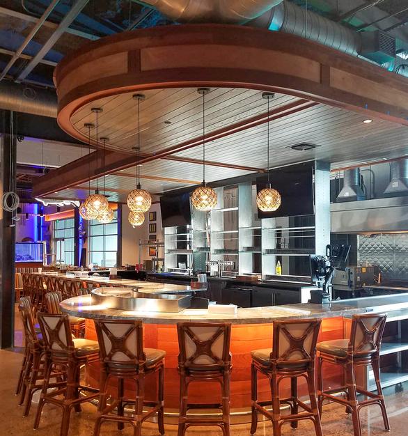 Uniform Linear Chesapeake's Restaurant Bar Restaurant Pendants Stool Interior Design