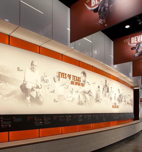The LEDCONN LED Lights help to illuminate the Hall of Fame and National Championship room at the University of Texas.  The LED light panels behind the graphic photographic wall show the history of the Longhorn team.