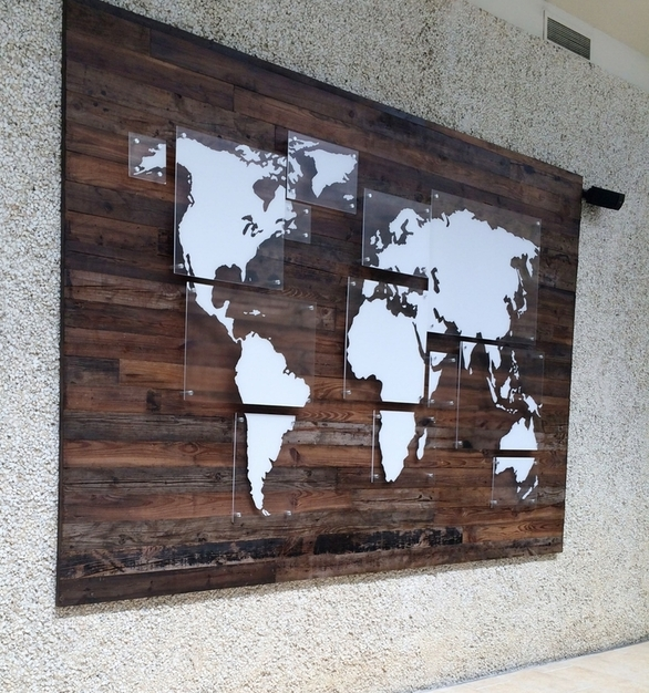 Creative use of reclaimed wood as part of lobby decor at Bethesda Community Church in Fort Worth, Texas.
