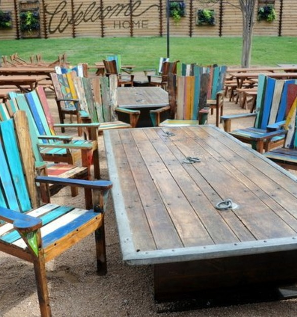 Outdoor dining tables designed by Urban Woods Co at The Rustic.
