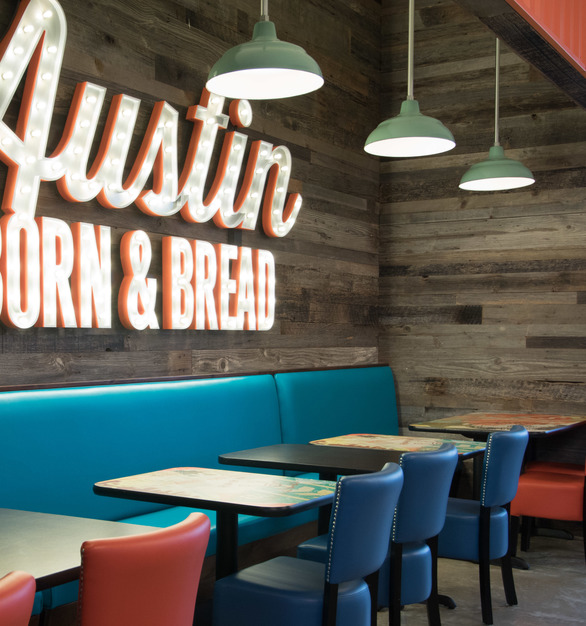 Scholtzsky's Austin Eatery has a classic design with timeless wood elements, by Urban Woods Company.