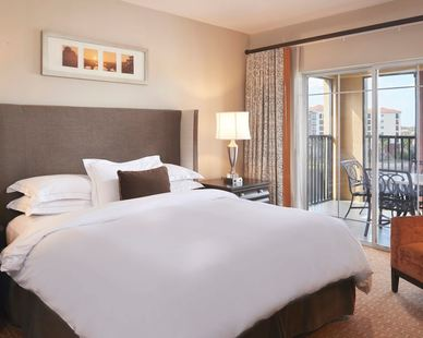 John G. Bagley represented manufacturer Uttermost, by providing the lamps on either nightstand for the hotel rooms at Hilton Grand Vacations Club at Tuscany Village located in Orlando, FL.
