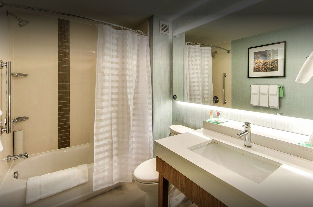 The back lit mirror was provided by John G. Bagley, who represented manufacturer Uttermost at the Hyatt Place Edmonton-West Hotel located in Edmonton, AB.