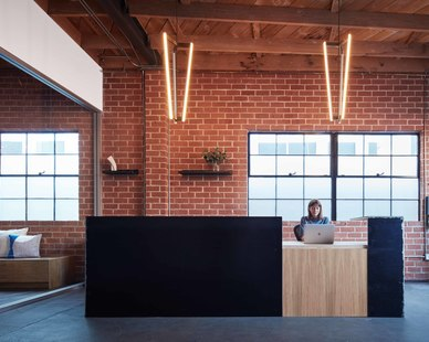Vertebrae Architecture + Design incorporated modern finishes throughout the Psyop office. Including the vertical pendant lights that are mounted above their sleek reception desk.  Photography Credit: McNulty Photo