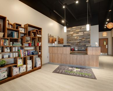 Modern reception area accented with wood paneling.