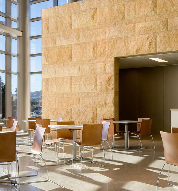 Architects and designers typically choose Vetter's Minnesota Stone for its versatility. Seen here in the interior of the East Contra Costa County Courthouse.