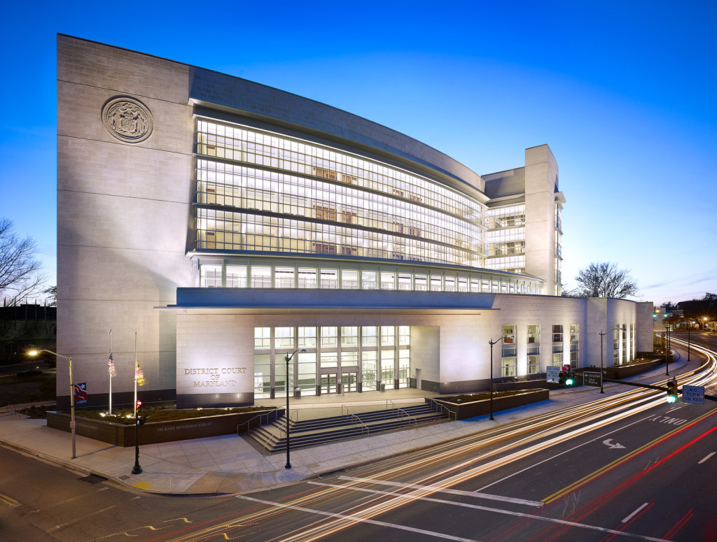 The Maryland District Courthouse features a cool toned Silver Shadow Alabama Stone with a machine smooth finish.
