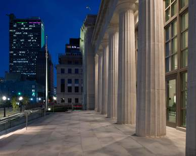For more than a century, Vetter Stone's fourth-generation family business has been quarrying, crafting and distributing high quality, all natural limestone from their Minnesota and Alabama quarries for notable projects worldwide. Here you can see the Silver Shadow Alabama Limestone in the Mobile, Alabama Courthouse.  Photo Credit: Hartman-Cox Architects