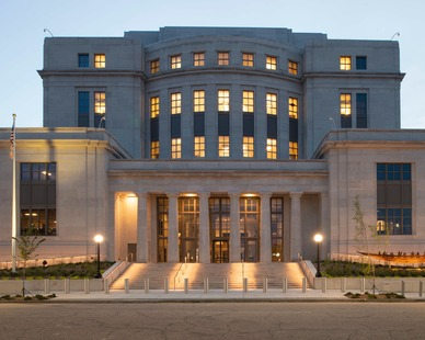 Silver Shadow, by Vetter Stone, is an oolitic limestone with a cool, contemporary, gray tone background and subtle wispy charcoal veining. Shown here on the Mobile, Alabama Courthouse.  Photo Credit: Hartman-Cox Architects