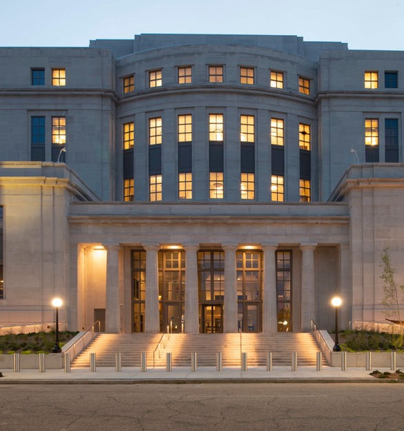 Silver Shadow, by Vetter Stone, is an oolitic limestone with a cool, contemporary, gray tone background and subtle wispy charcoal veining. Shown here on the Mobile, Alabama Courthouse.