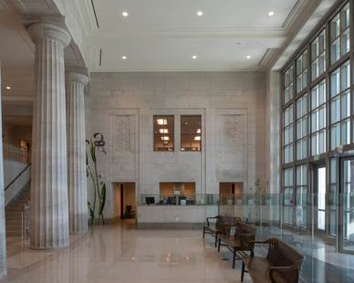 This oolitic, Alabama Limestone truly showcases the beautiful color and natural look to the interior of the Mobile Courthouse in Alabama.  Photo Credit: Hartman-Cox Architects