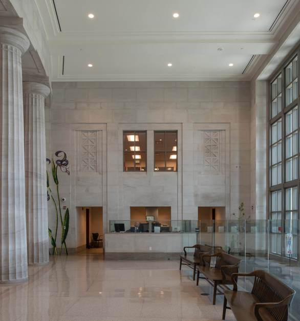 This oolitic, Alabama Limestone truly showcases the beautiful color and natural look to the interior of the Mobile Courthouse in Alabama.