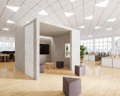This workplace cube showcases Durasein's Victoria Falls, Lively Collection.