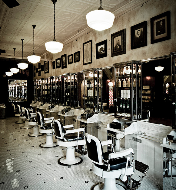 Get pampered at this vintage-inspired salon and admire the hanging pendant lighting and tin tile ceiling.