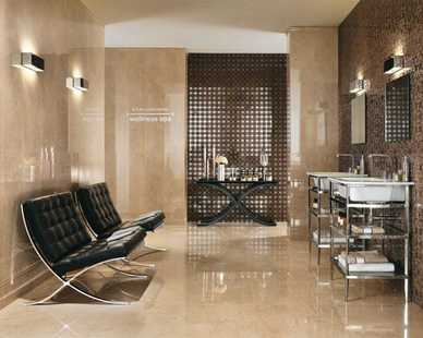 Inspired by the most prestigious marble of Italian tradition, Marvel is a ceramic project of the highest possible aesthetic and technical impact, characterized by porcelain stoneware floors and coordinated white-body wall cladding.
