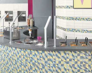 The mosaics are especially rhythmic, dynamic and fresh, framing rich and soft palettes of triangles in a clean, classy finish.