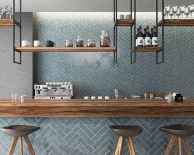 Beautiful Maiolica ceramic tile in this upscale cafe.