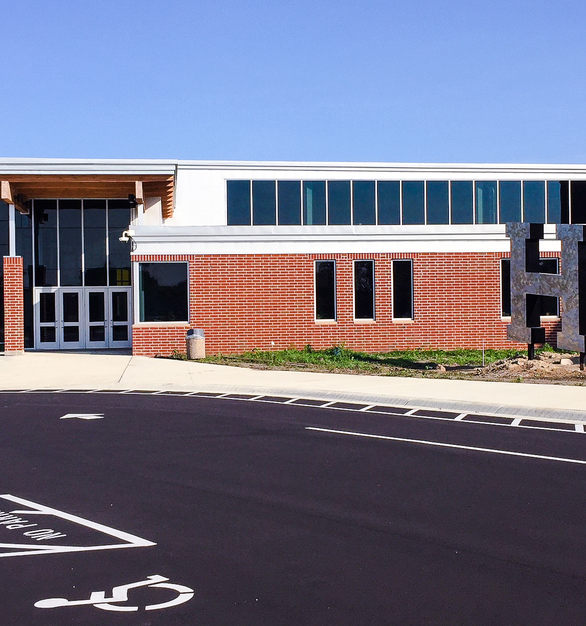 The easily accessible entrance at the Hutchinson High School in Hutchinson, Minnesota, by W. Gohman Construction.
