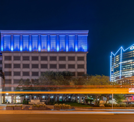 Wade Architectural Systems Weston Parking Garage Front with blue lights