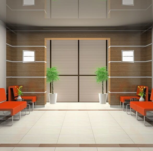 Waiting area featuring the MHF with wall panels.