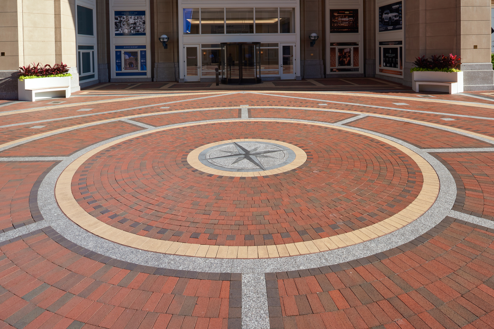 Wessling Architects helped with the Rowes Wharf Restoration project of Boston, MA. With brick pavers from Belden Brick, the walkway is waterproof, sturdy and seen here as with a decorative design.