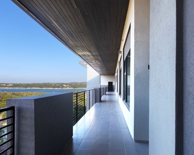 The balcony view of the Waterfall Condos on Lake Travis by Cornerstone Architects.