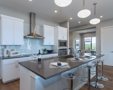 The kitchen design in a unit of the Waterfall Condos on Lake Travis by Cornerstone Architects.
