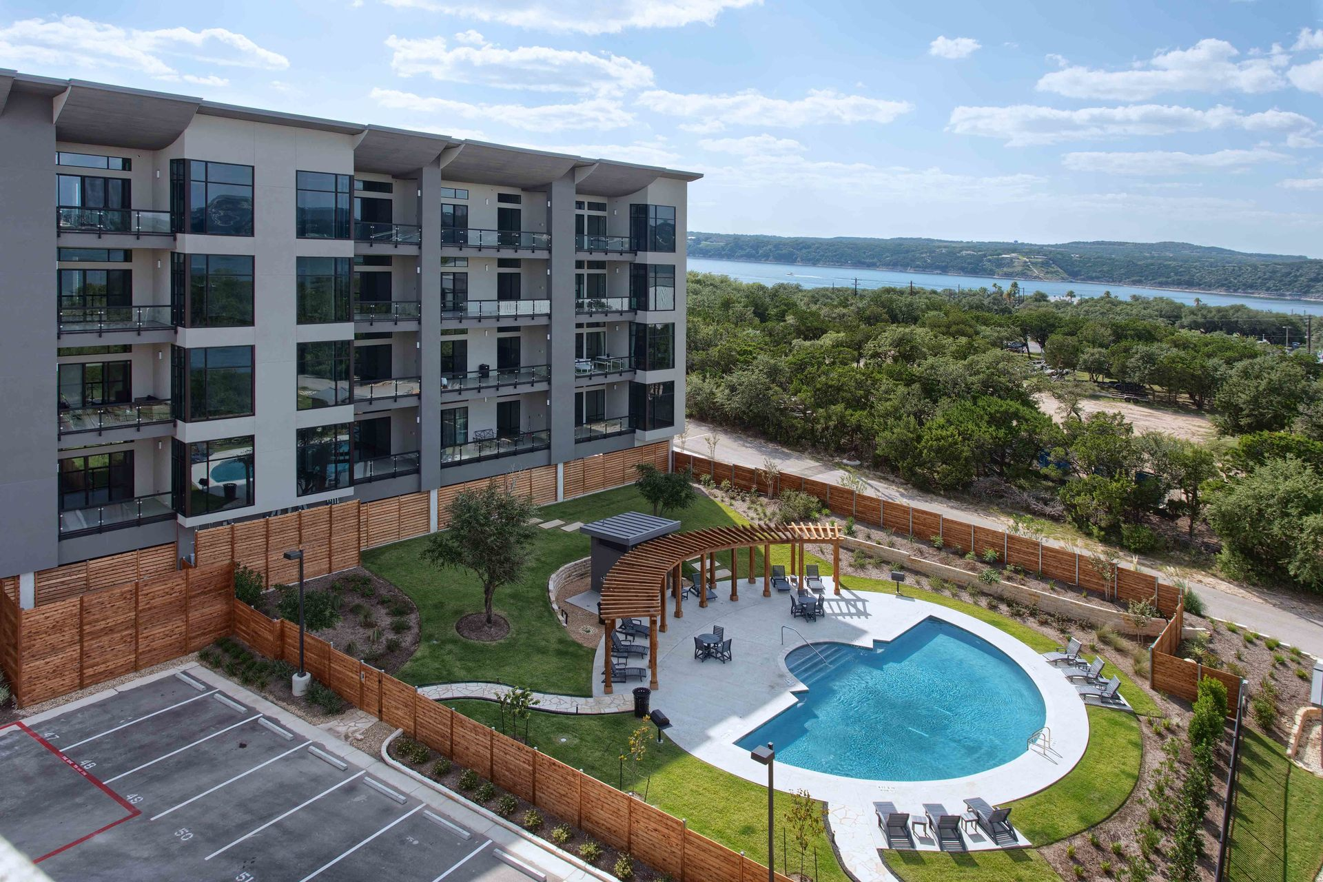 Exterior landscaping of the Waterfall Condos on Lake Travis by Cornerstone Architects.