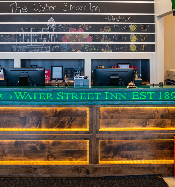 Kelly green Granicrete countertops are the first thing to greet customers when they walk into the Water Street Inn's reception room.
